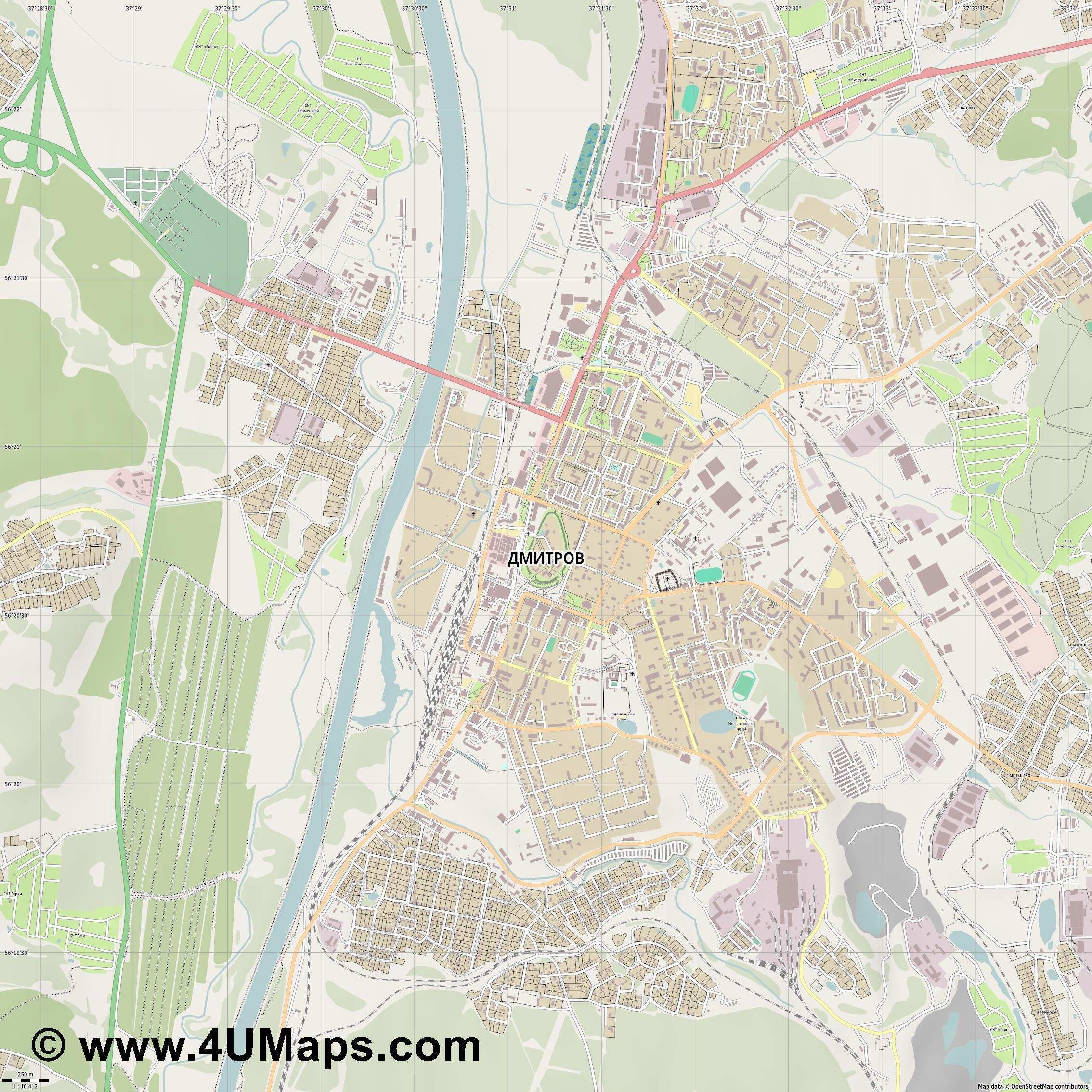 Дмитров Dmitrov Dmitrow  jpg ultra high detail preview vector city map