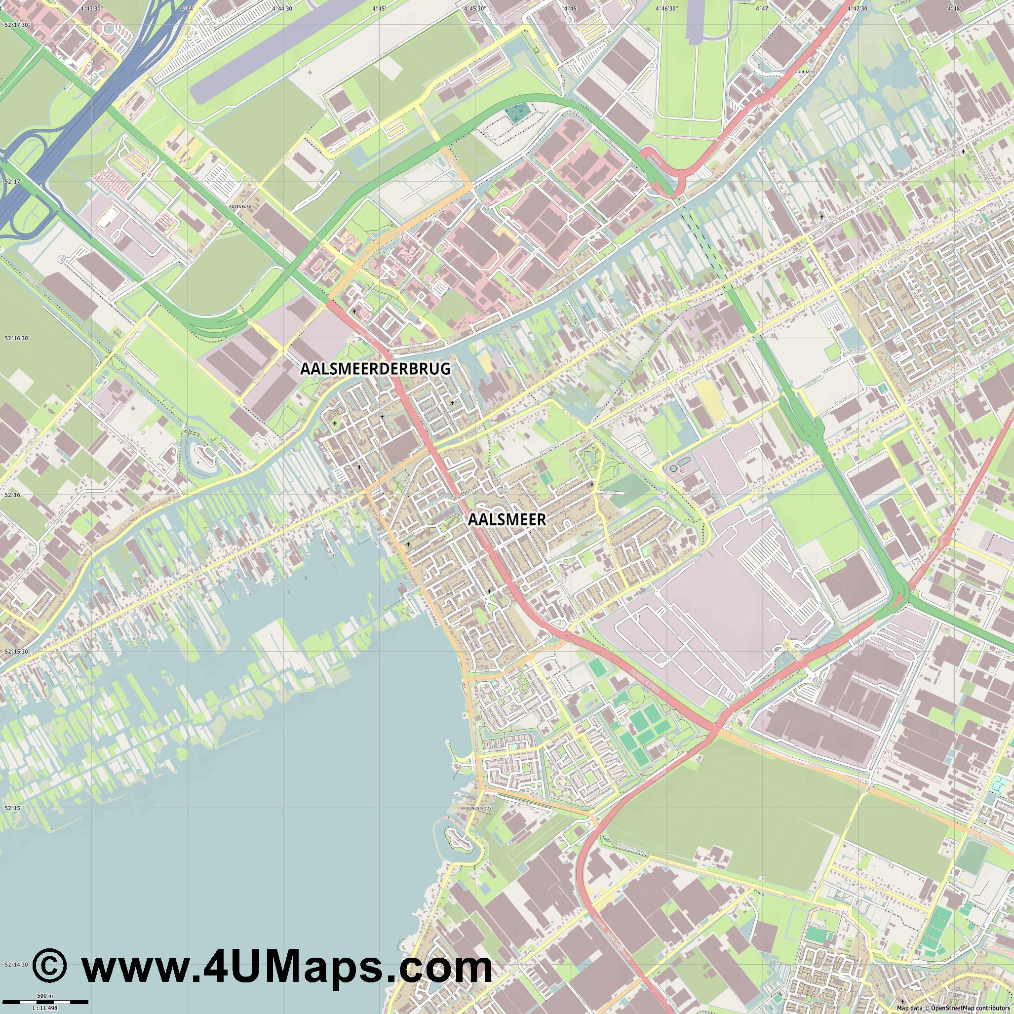 Aalsmeer  jpg ultra high detail preview vector city map