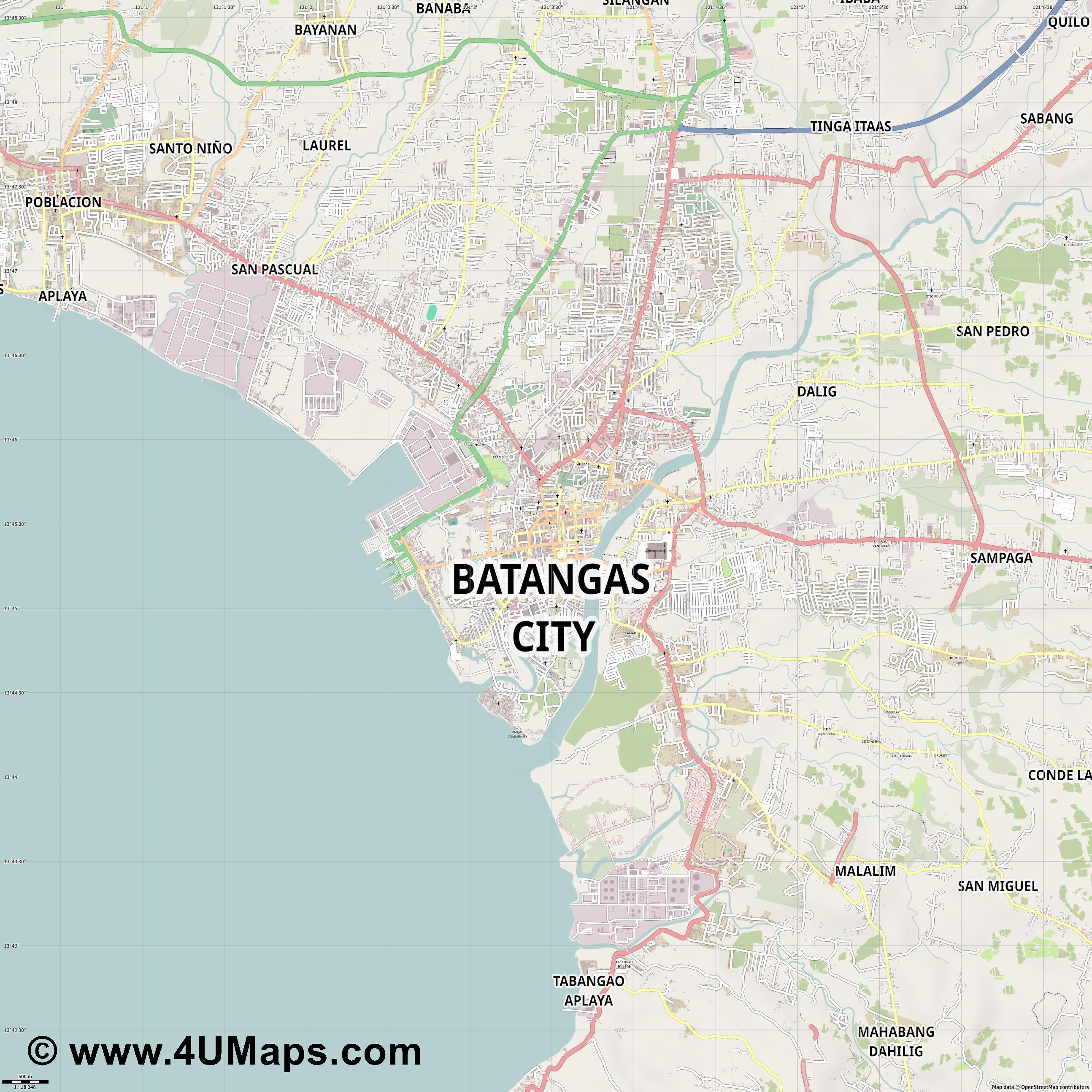 Batangas City  jpg ultra high detail preview vector city map