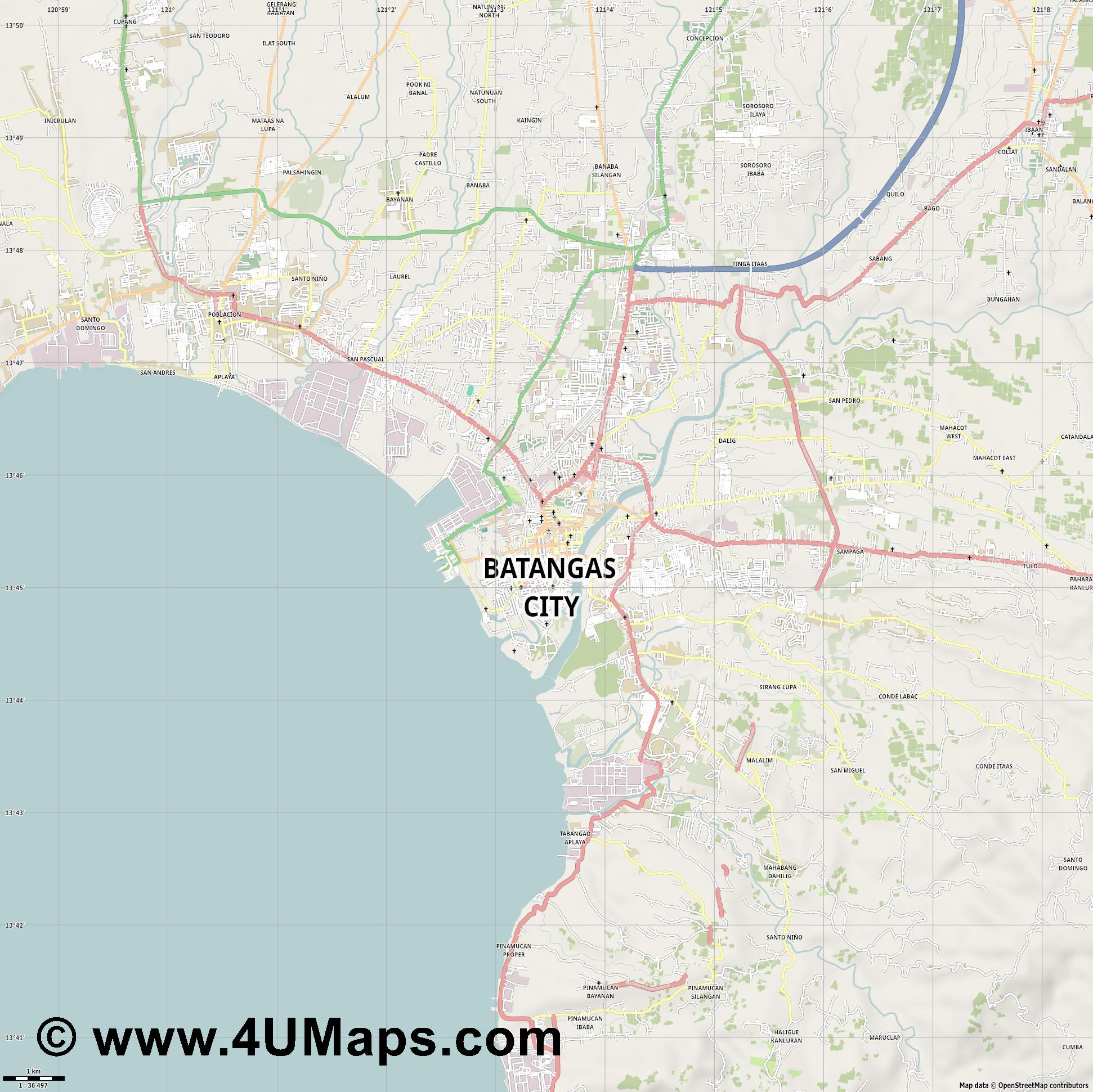 Batangas City  jpg high detail, large area preview vector city map