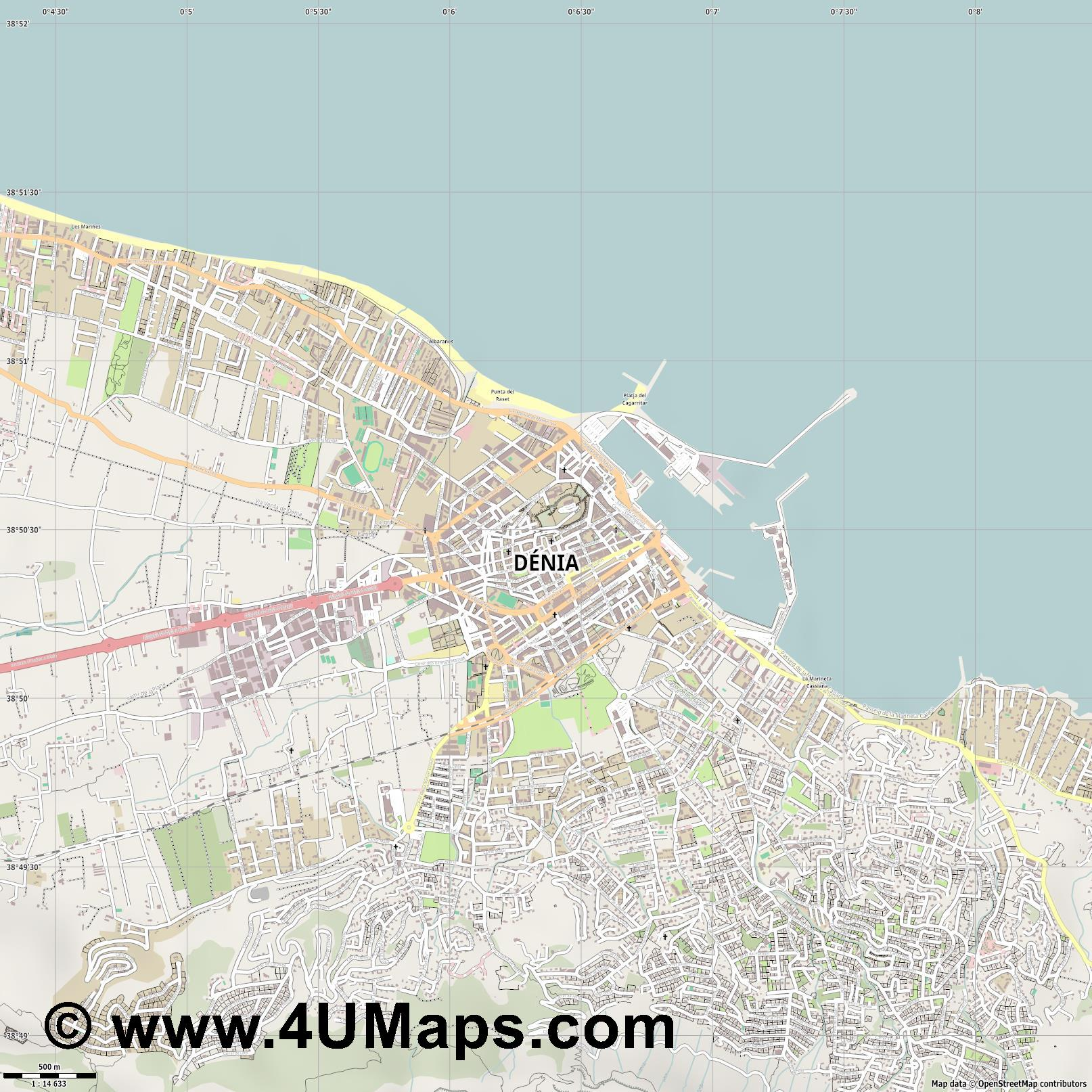 Dénia Denia  jpg ultra high detail preview vector city map
