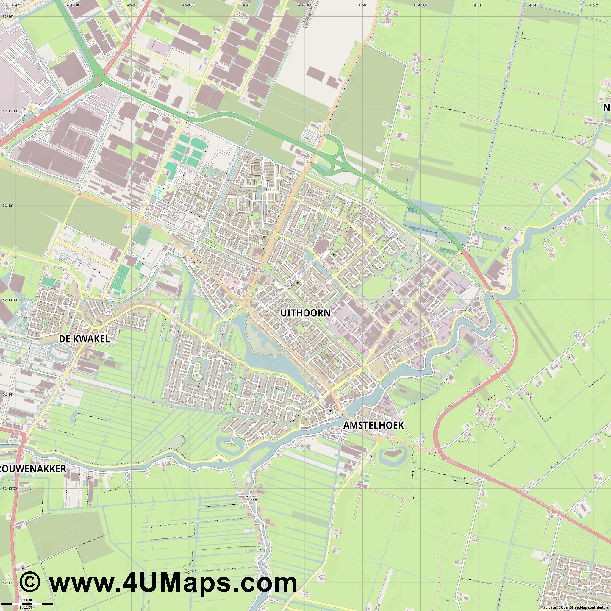 Uithoorn  jpg ultra high detail preview vector city map