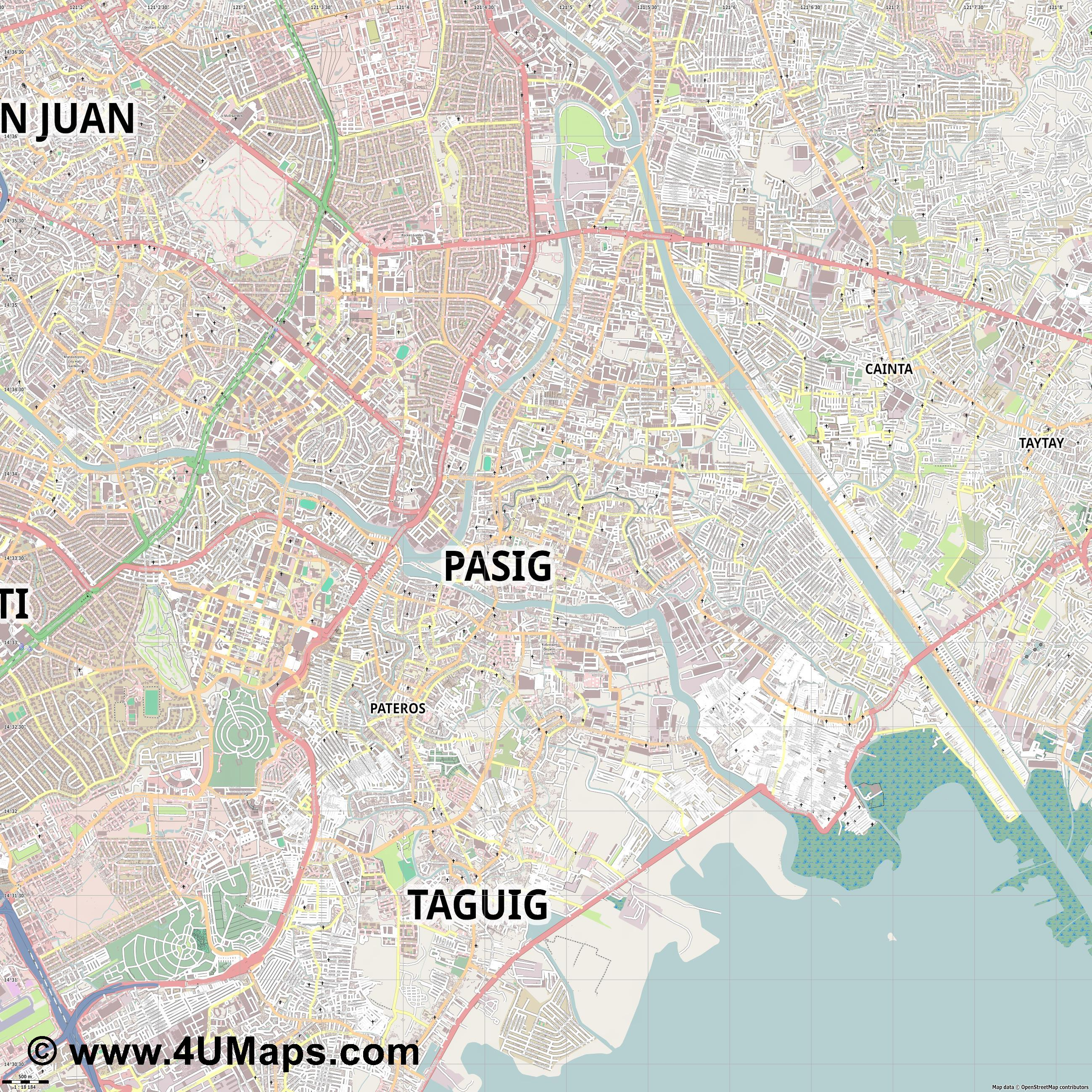 Pasig  jpg ultra high detail preview vector city map