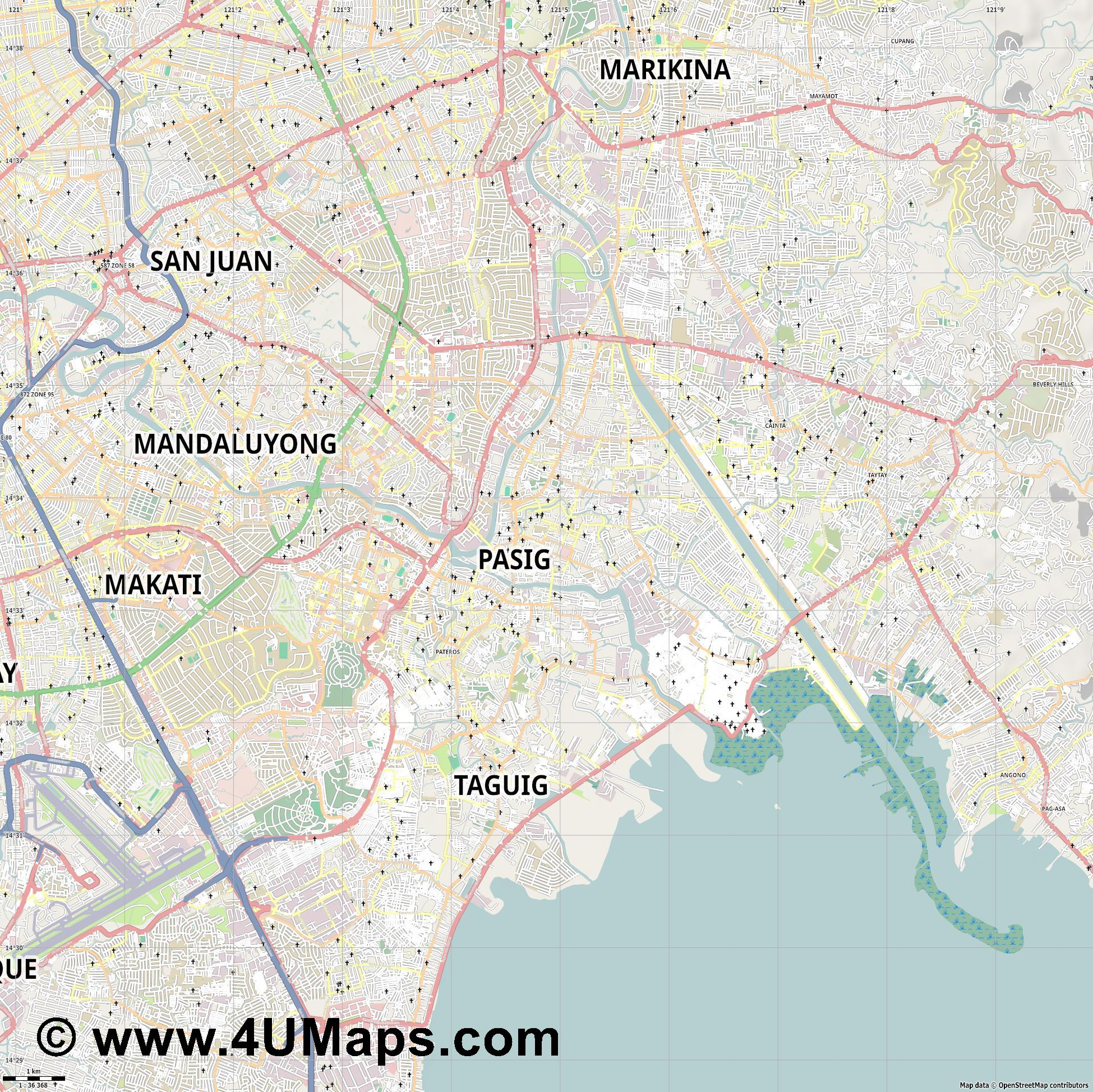 Pasig  jpg high detail, large area preview vector city map