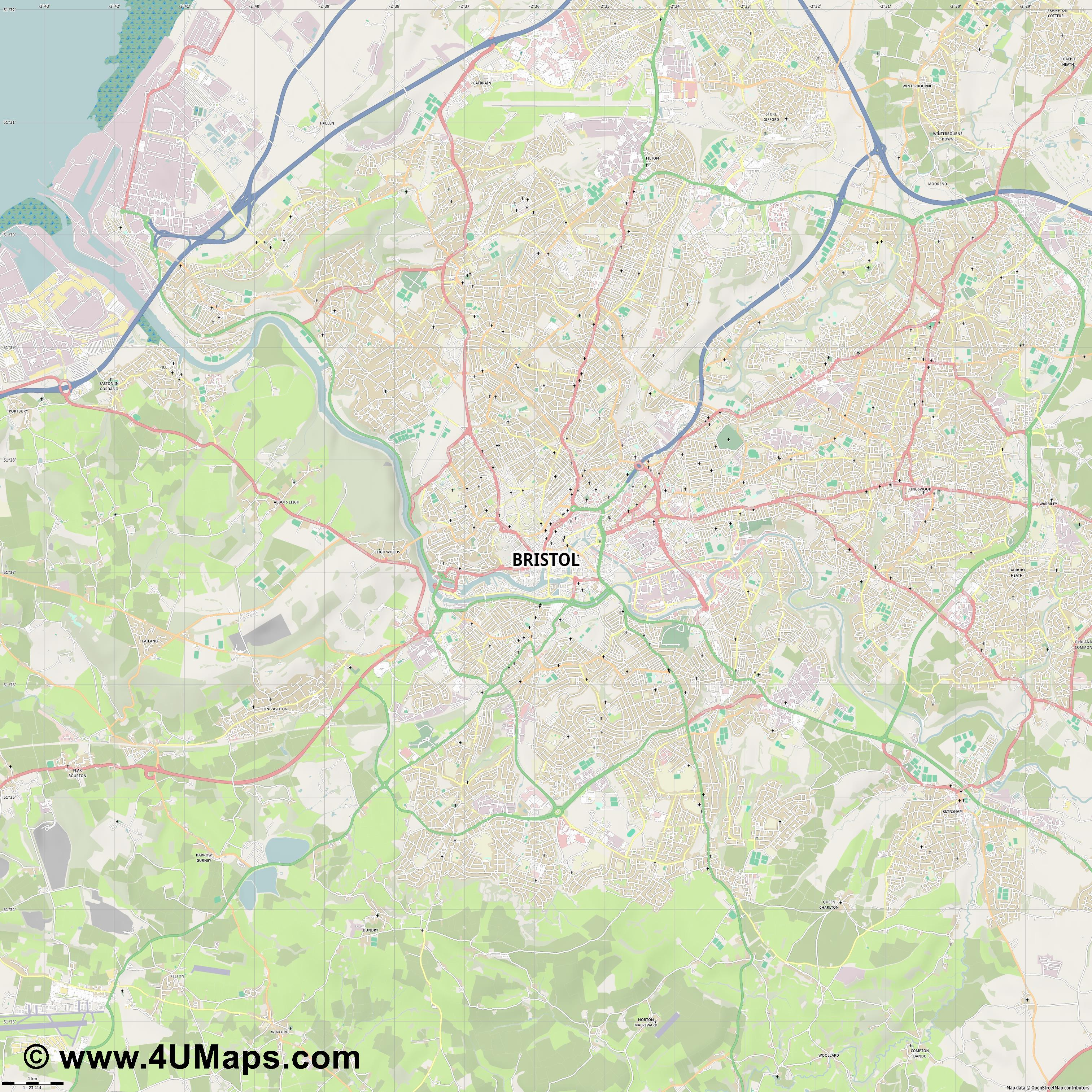 Bristol  jpg high detail, large area preview vector city map