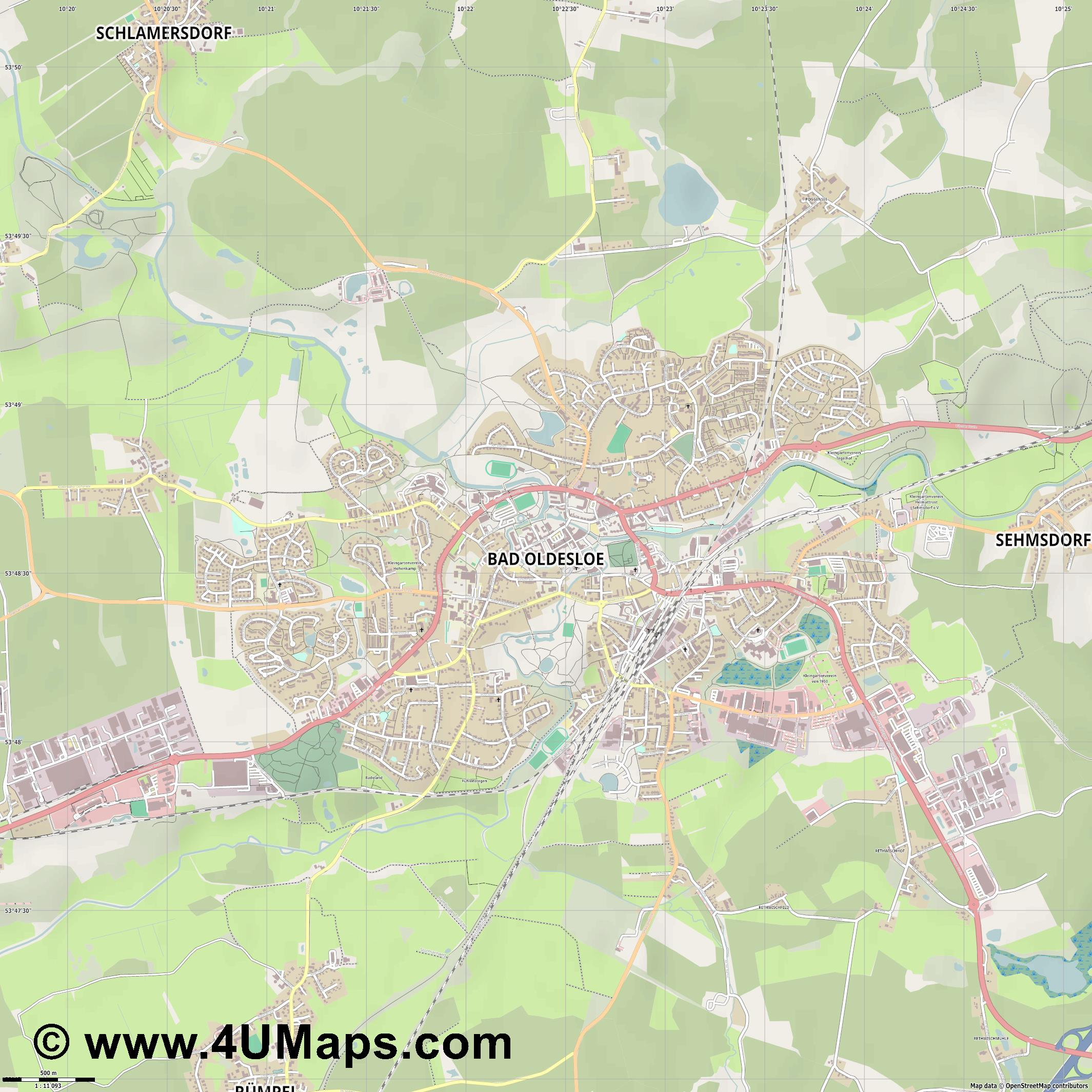 Bad Oldesloe  jpg ultra high detail preview vector city map