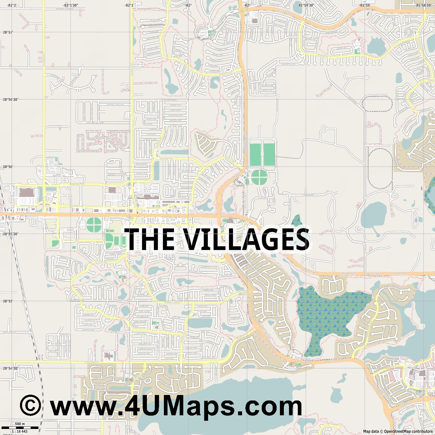 The Villages  jpg ultra high detail preview vector city map