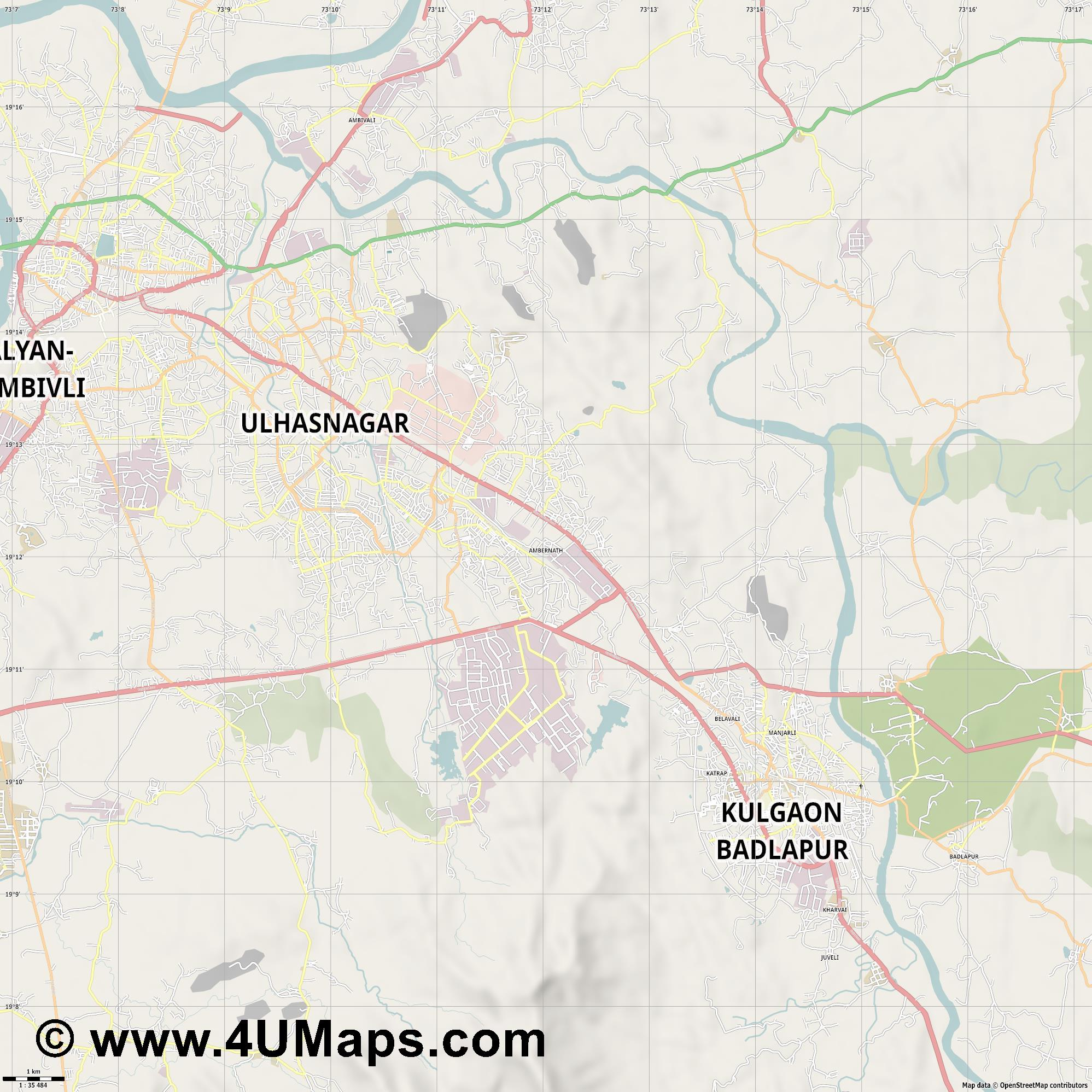 Ambernath  jpg high detail, large area preview vector city map