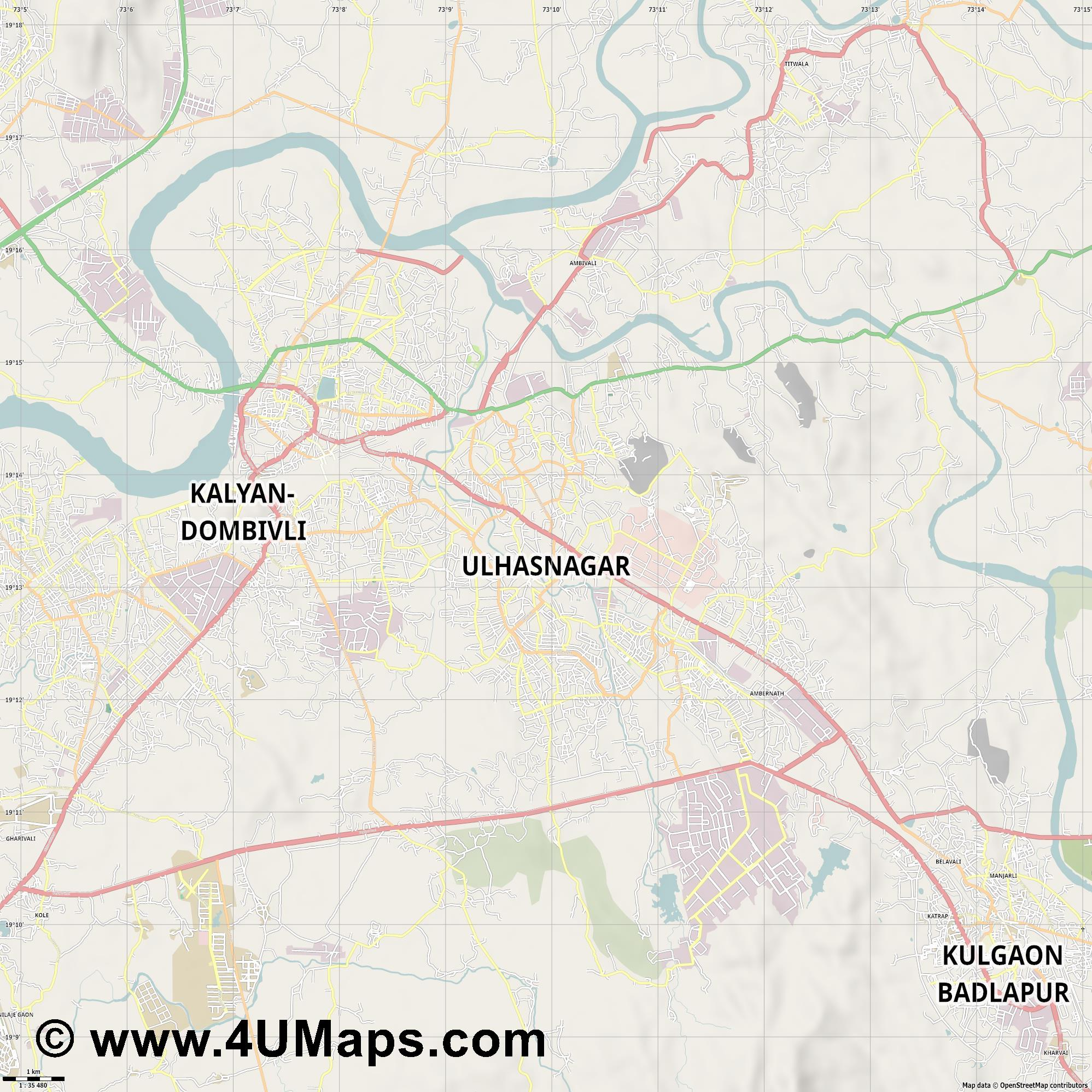 Ulhasnagar  jpg high detail, large area preview vector city map
