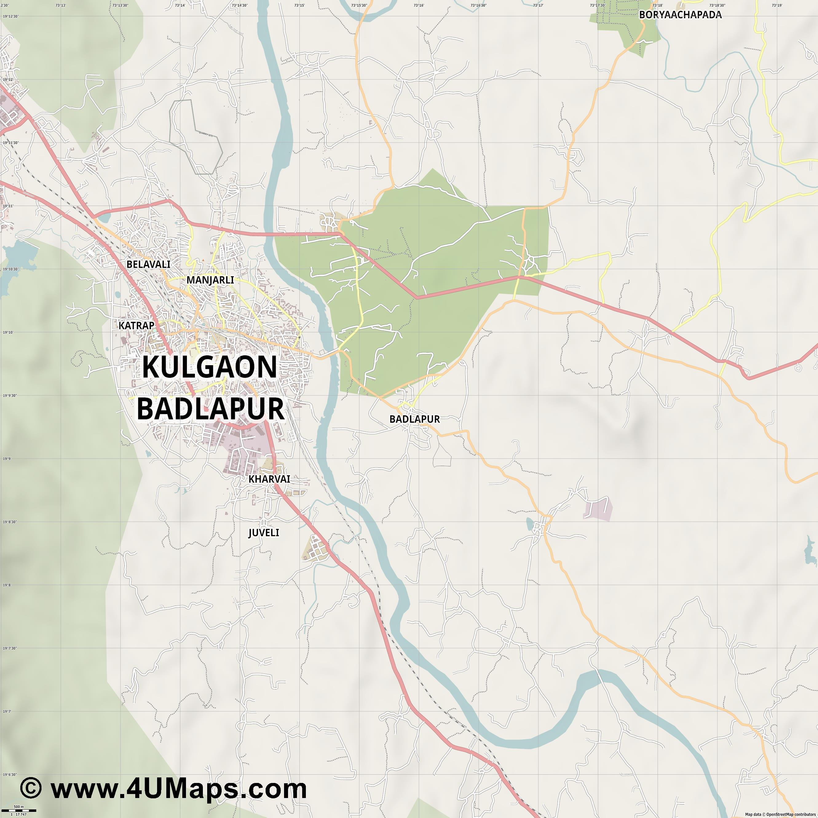 Badlapur  jpg ultra high detail preview vector city map