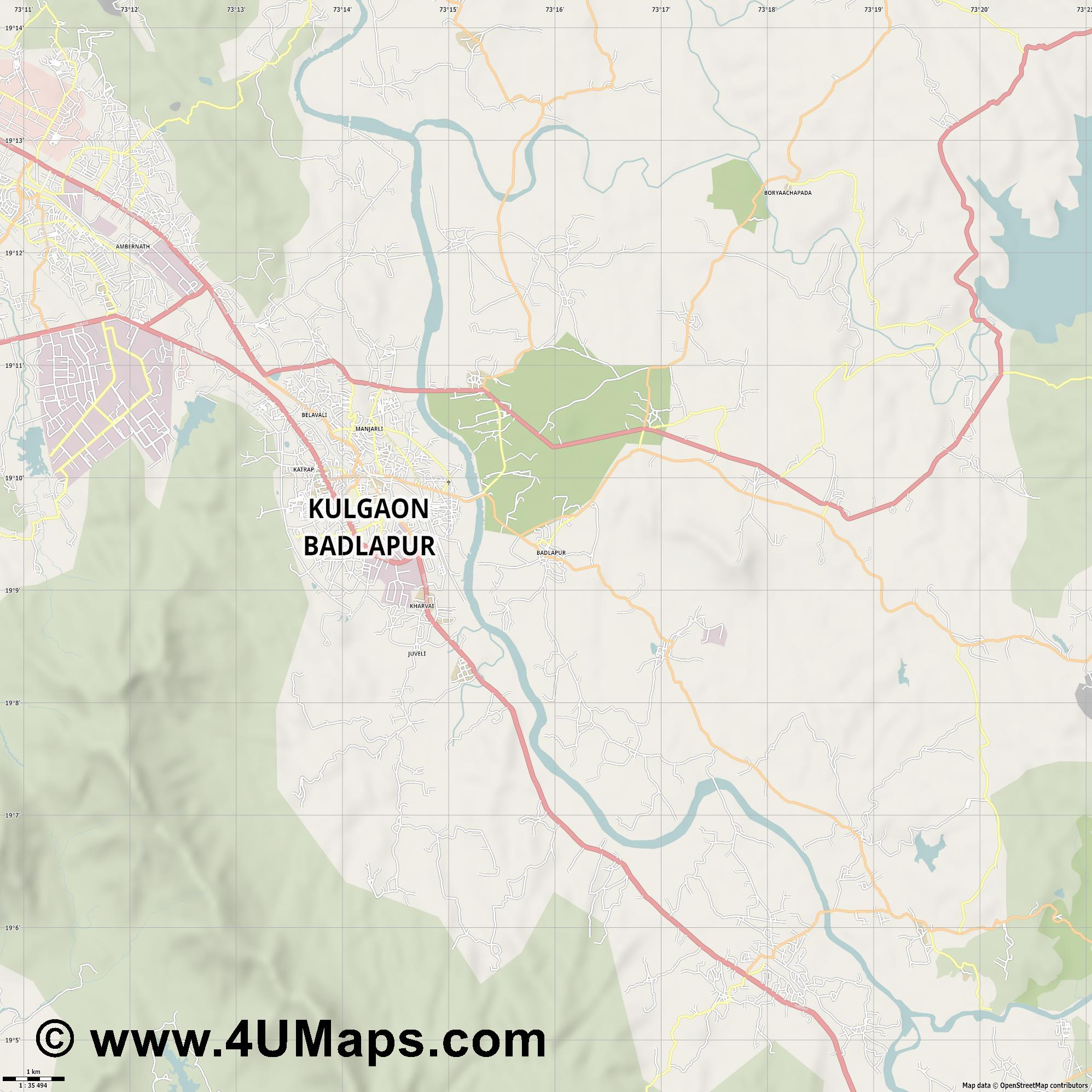Badlapur  jpg high detail, large area preview vector city map
