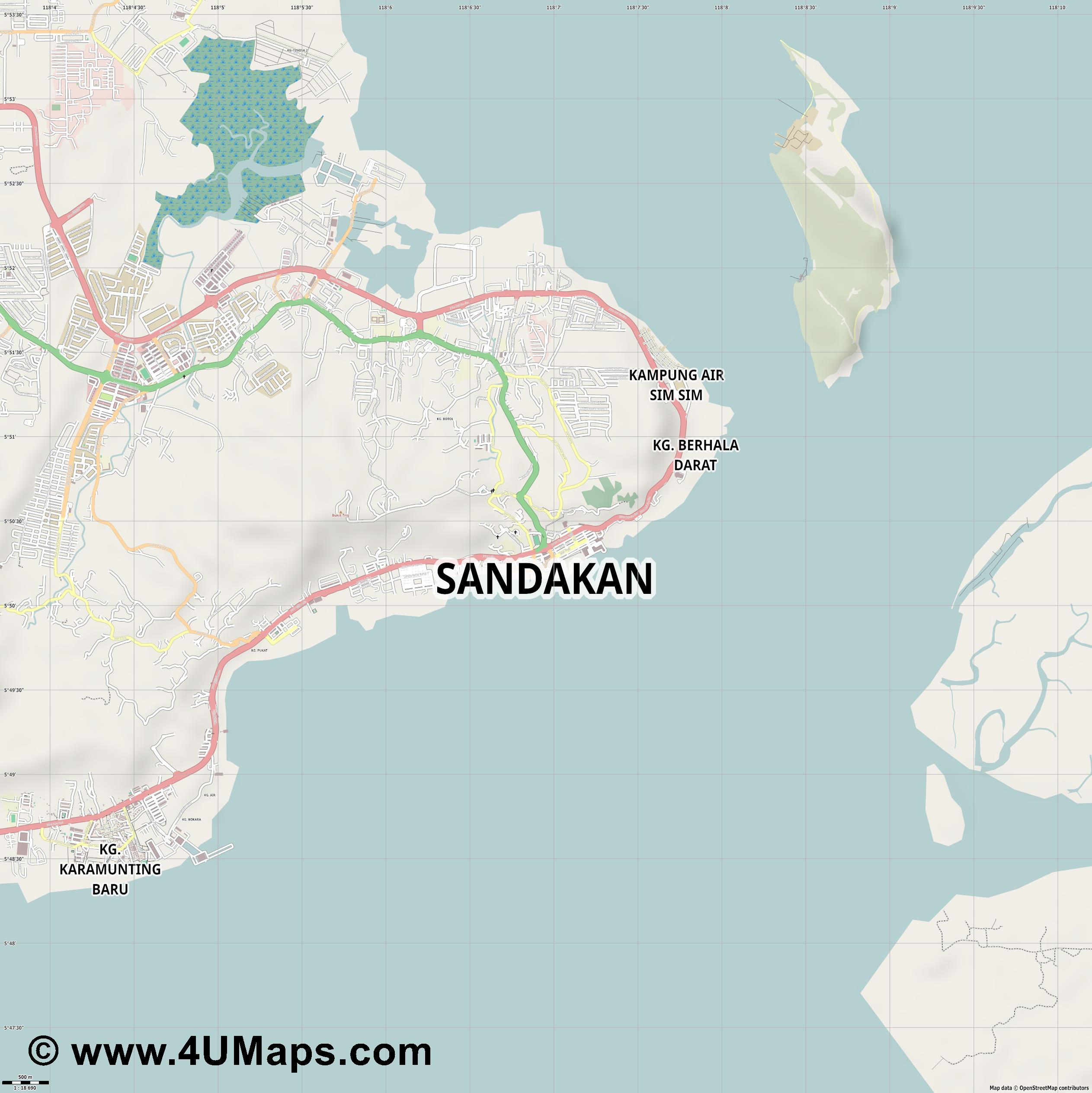 Sandakan  jpg ultra high detail preview vector city map