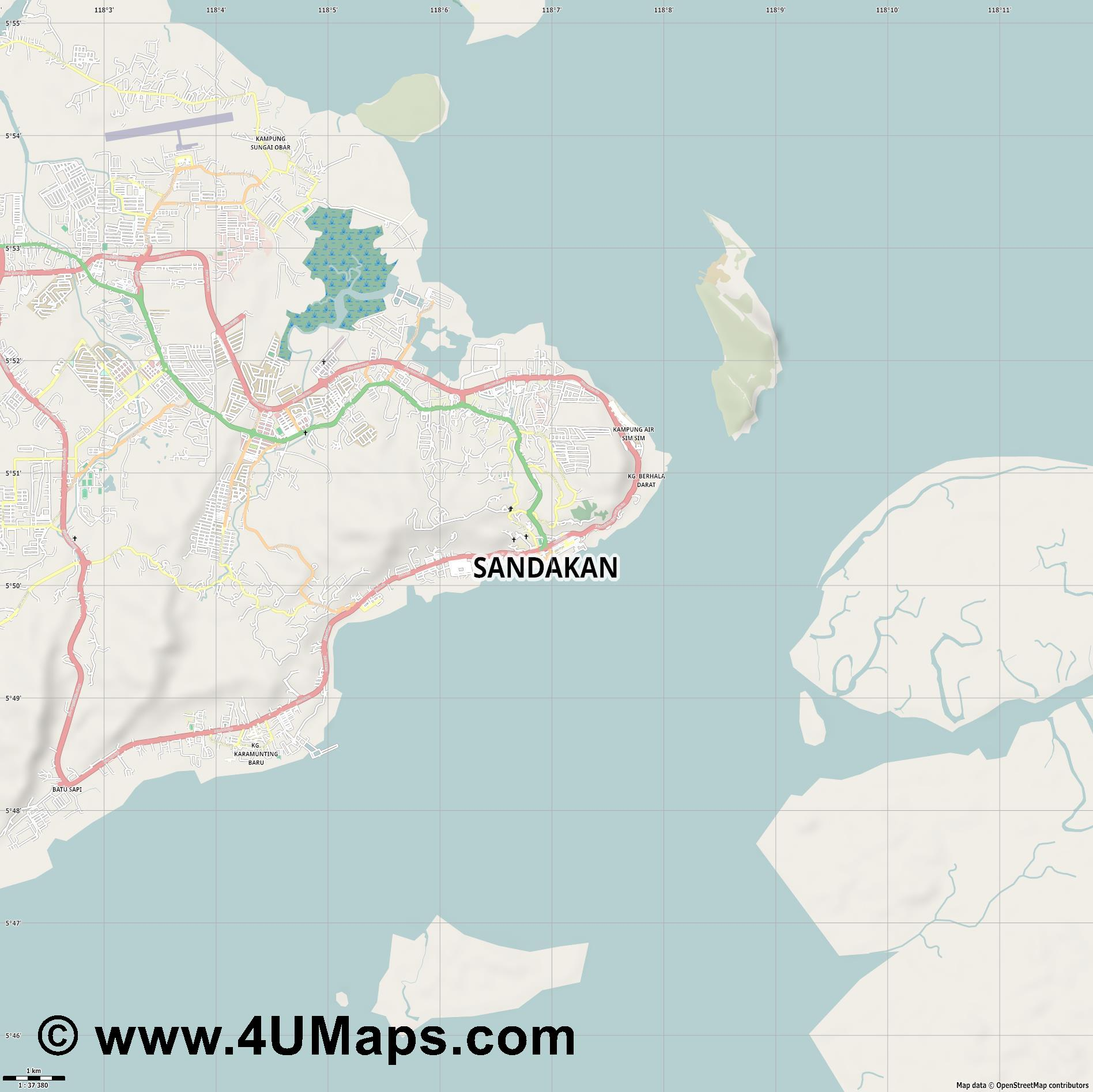Sandakan  jpg high detail, large area preview vector city map