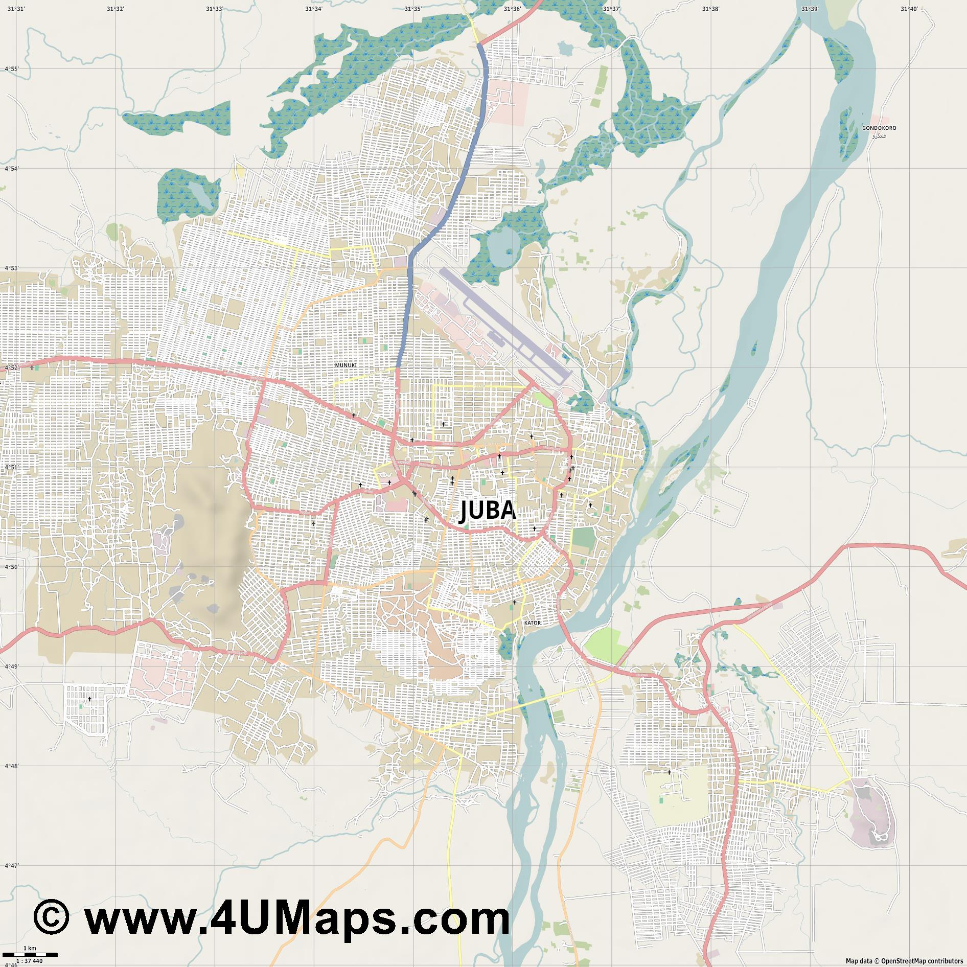 Juba Yuba Djouba Giuba Dschuba  jpg high detail, large area preview vector city map