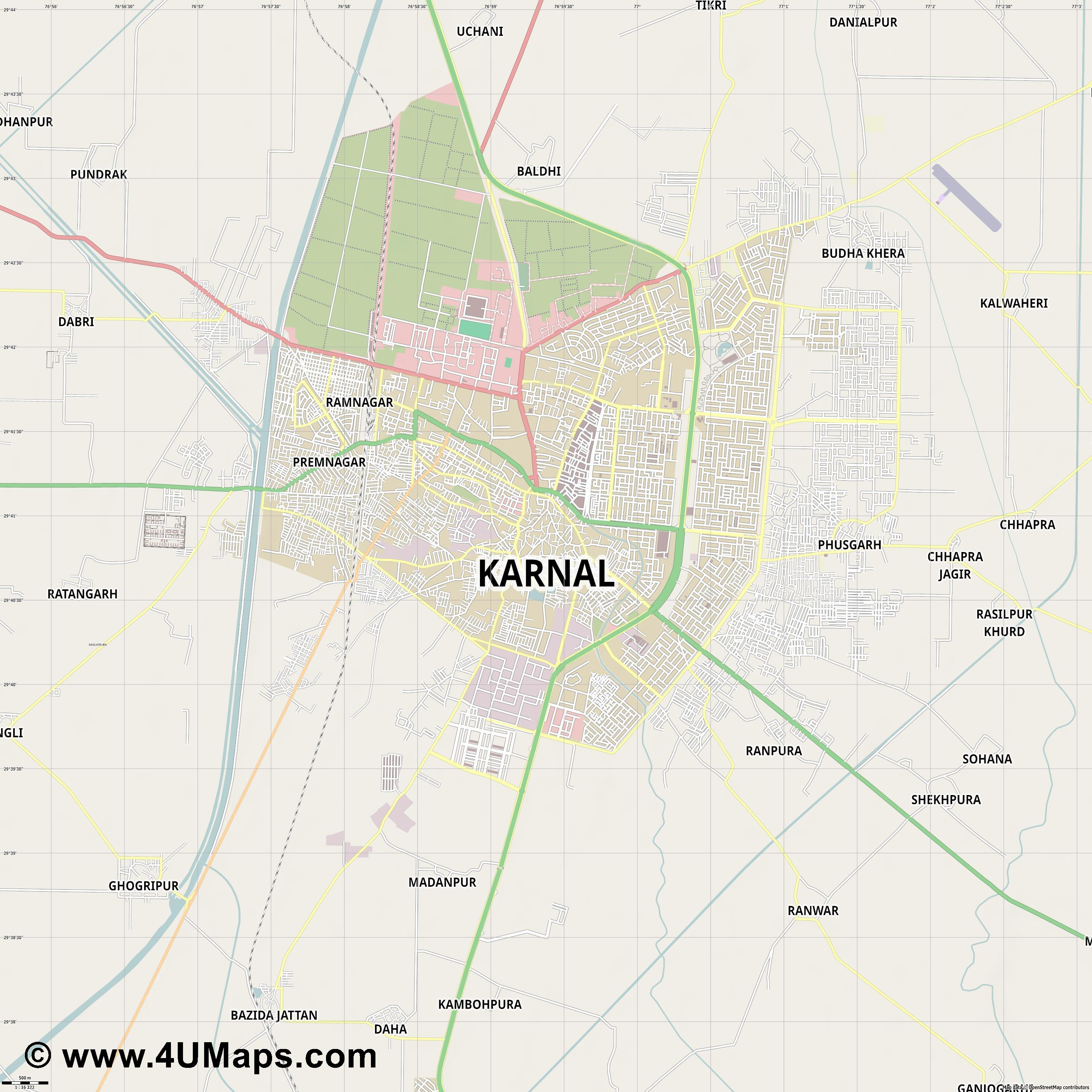 Karnal  jpg ultra high detail preview vector city map