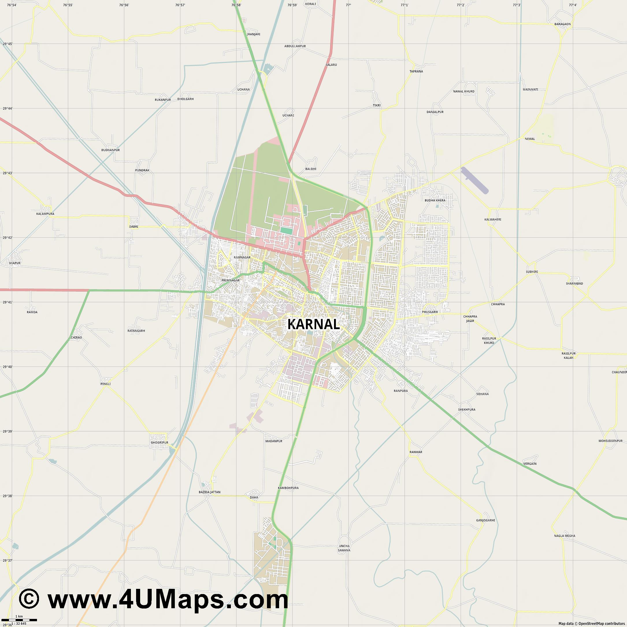 Karnal  jpg high detail, large area preview vector city map