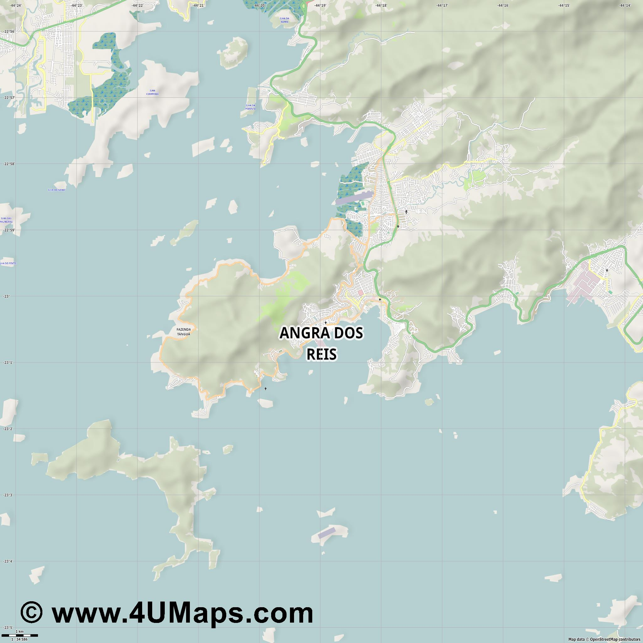 Angra dos Reis  jpg high detail, large area preview vector city map