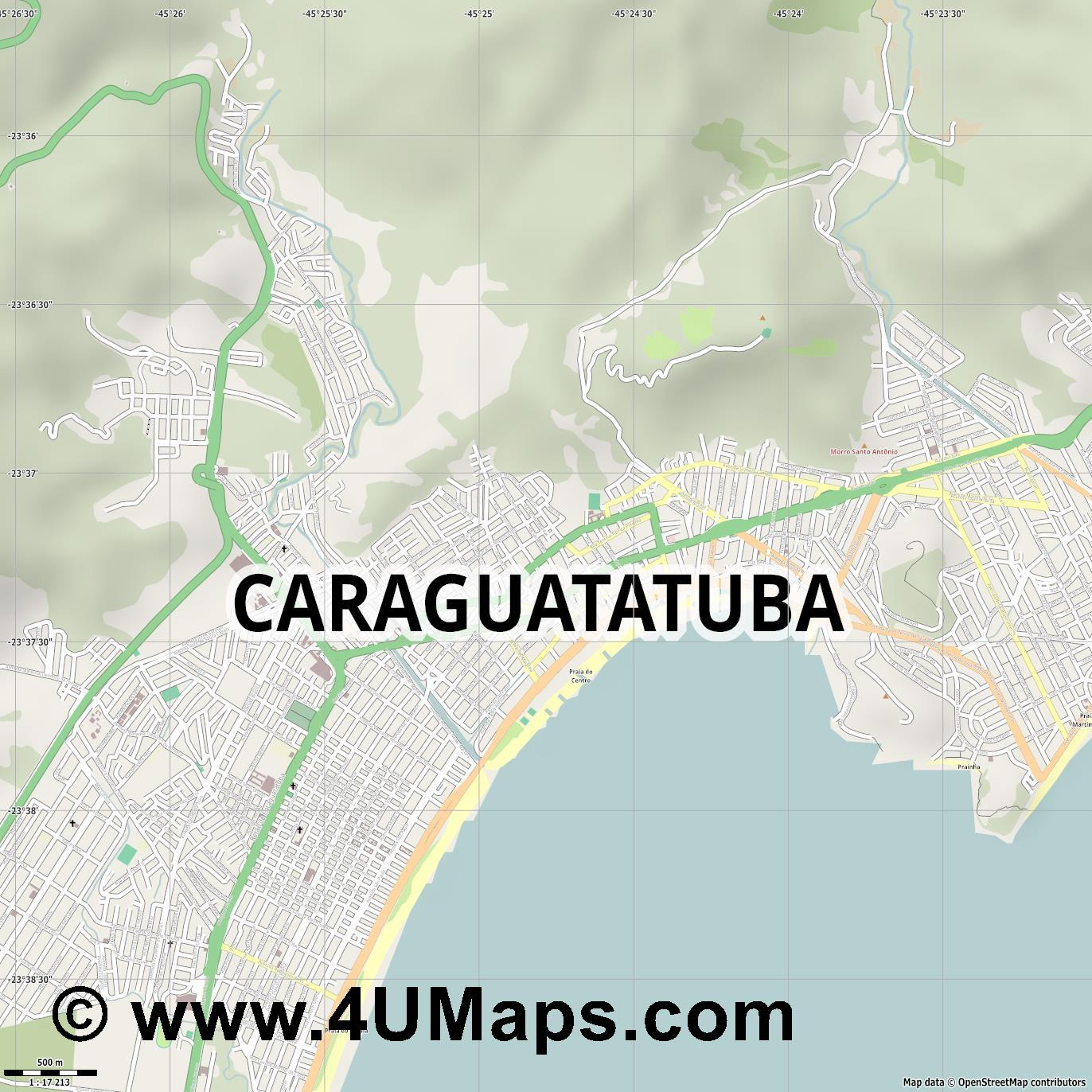 Caraguatatuba  jpg ultra high detail preview vector city map