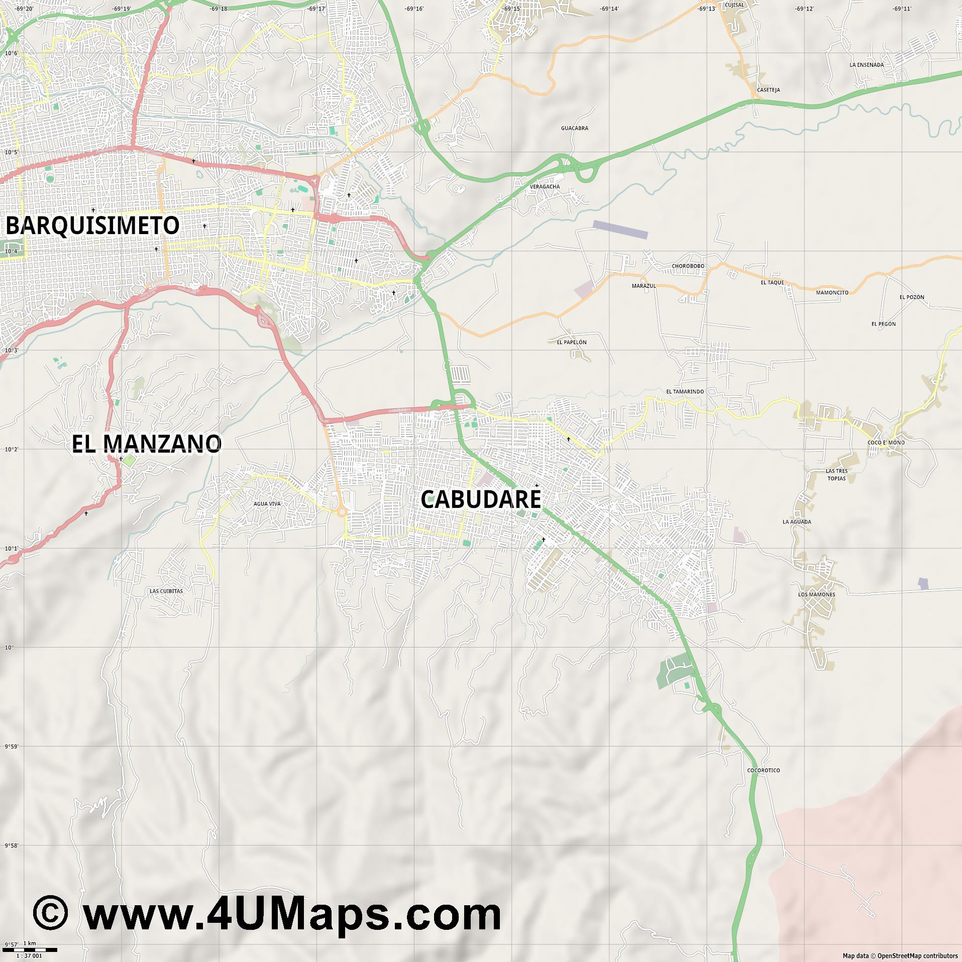 Cabudare  jpg high detail, large area preview vector city map
