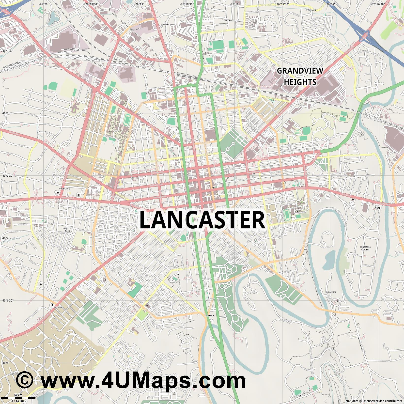 Lancaster  jpg ultra high detail preview vector city map