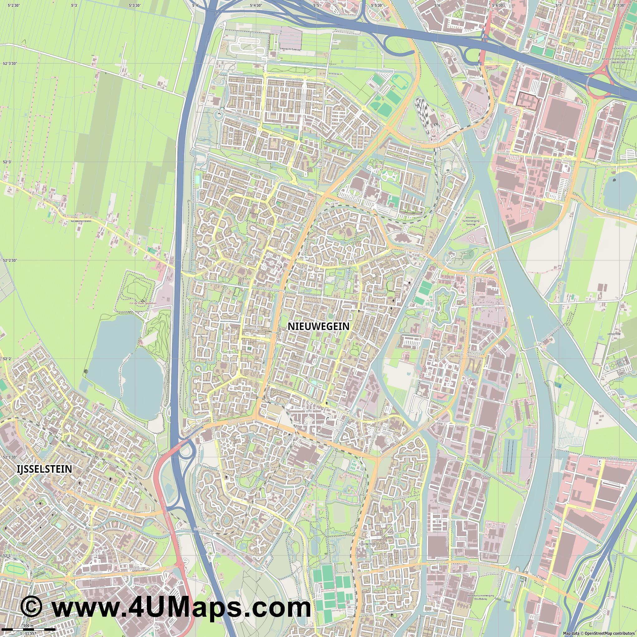 Nieuwegein  jpg ultra high detail preview vector city map